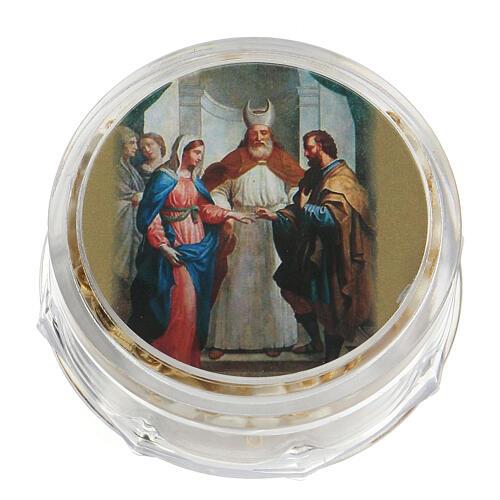 Recuerdo boda rosario con alianzas dorado 4