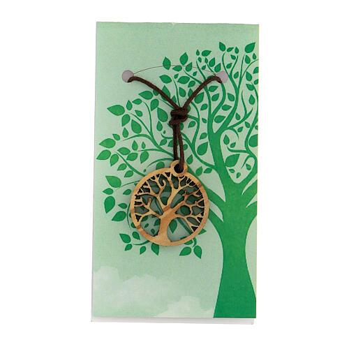 Ciondolo albero della Vita legno d'ulivo 1
