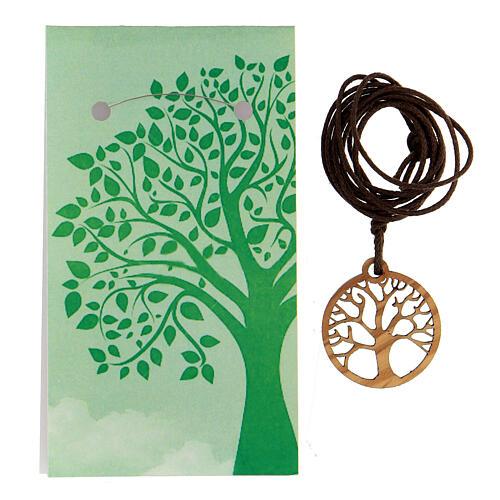 Ciondolo albero della Vita legno d'ulivo 3
