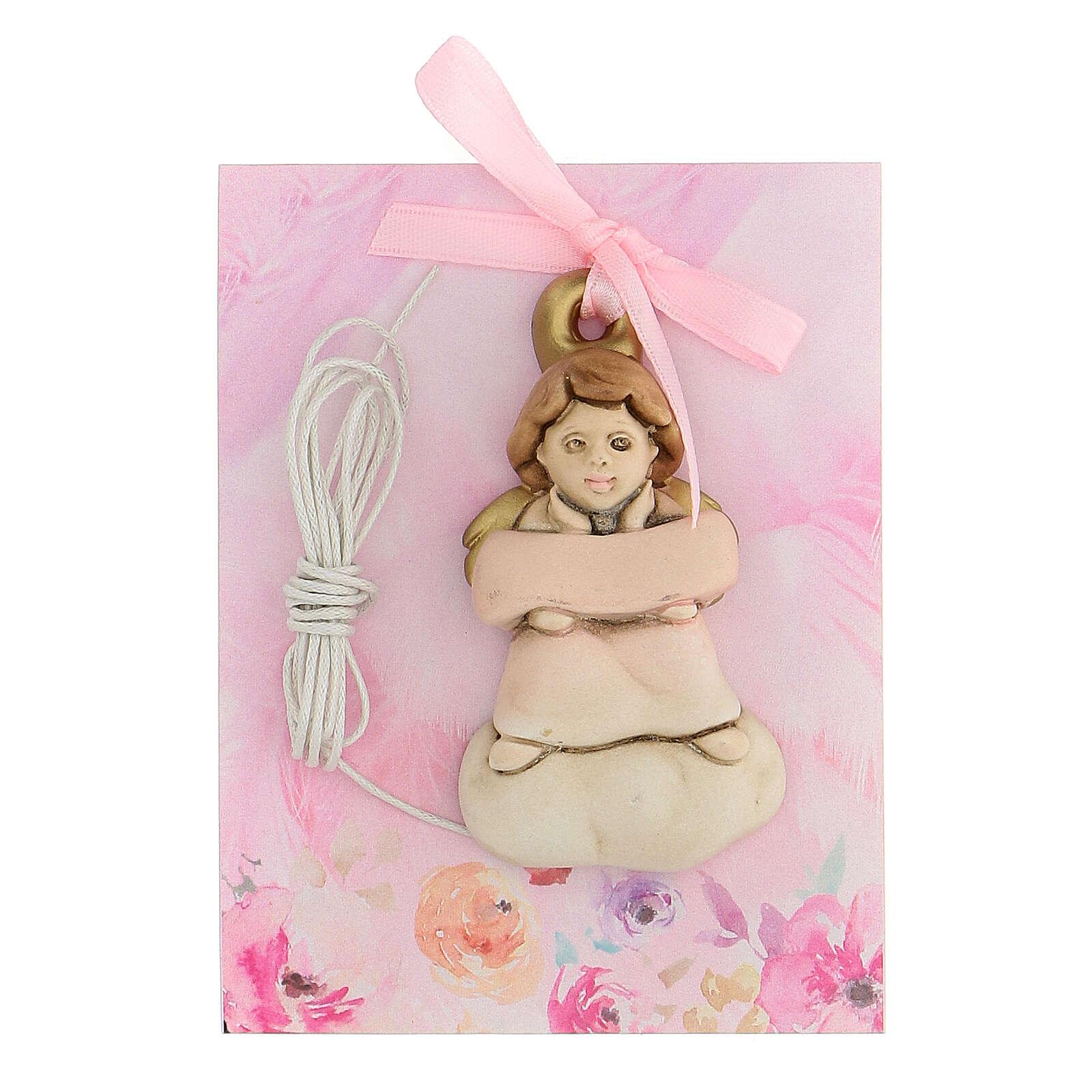 Angelito de colgar moño rosa 3