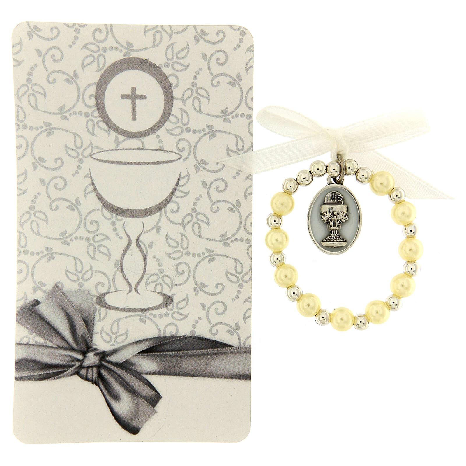 Souvenir Communion dizainier grains perlés 3