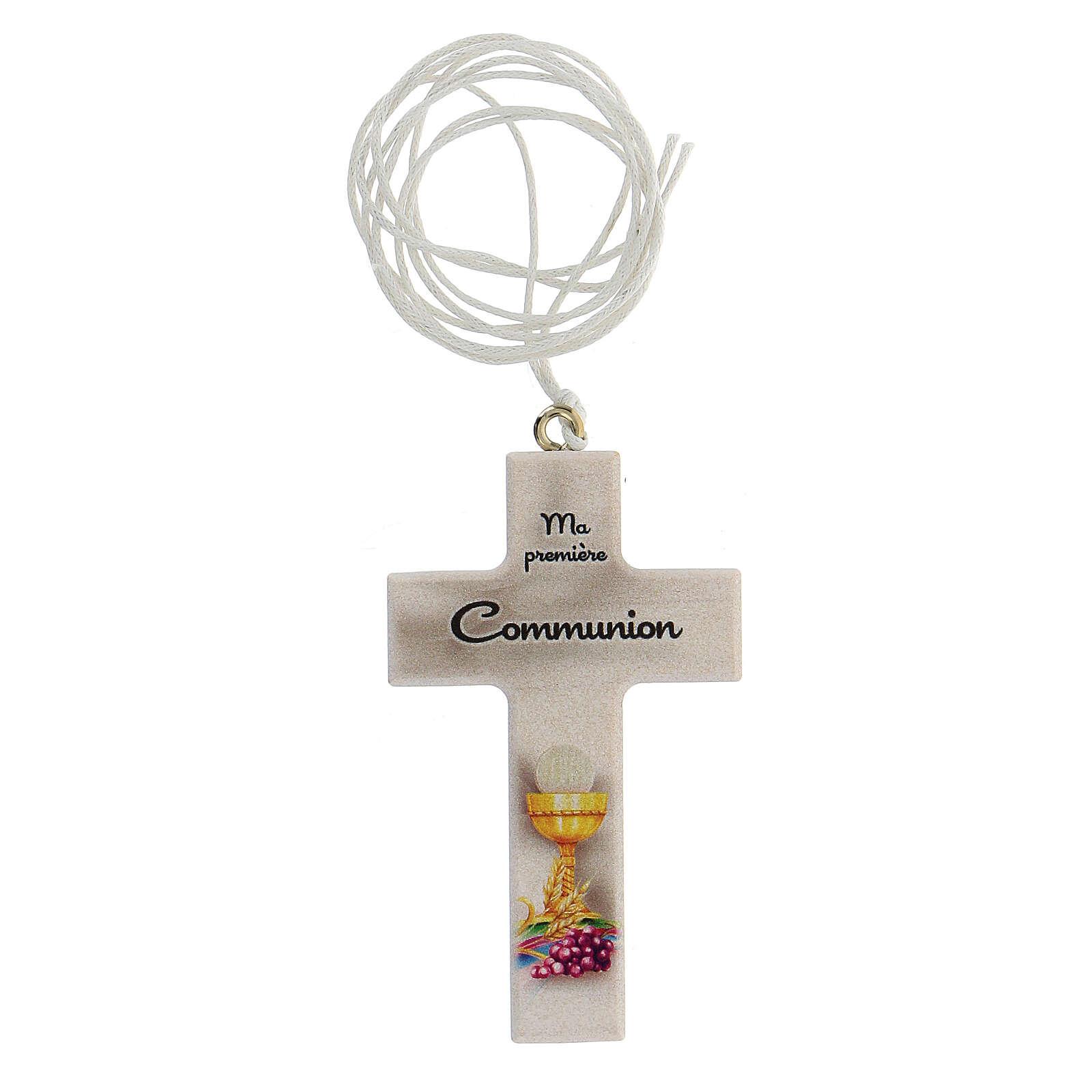 Souvenir Communion croix blanche avec cordon FRANÇAIS 3