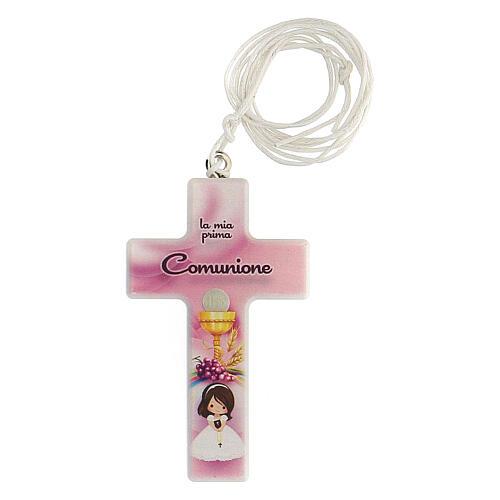 Croix rose et cordon Communion fille 1