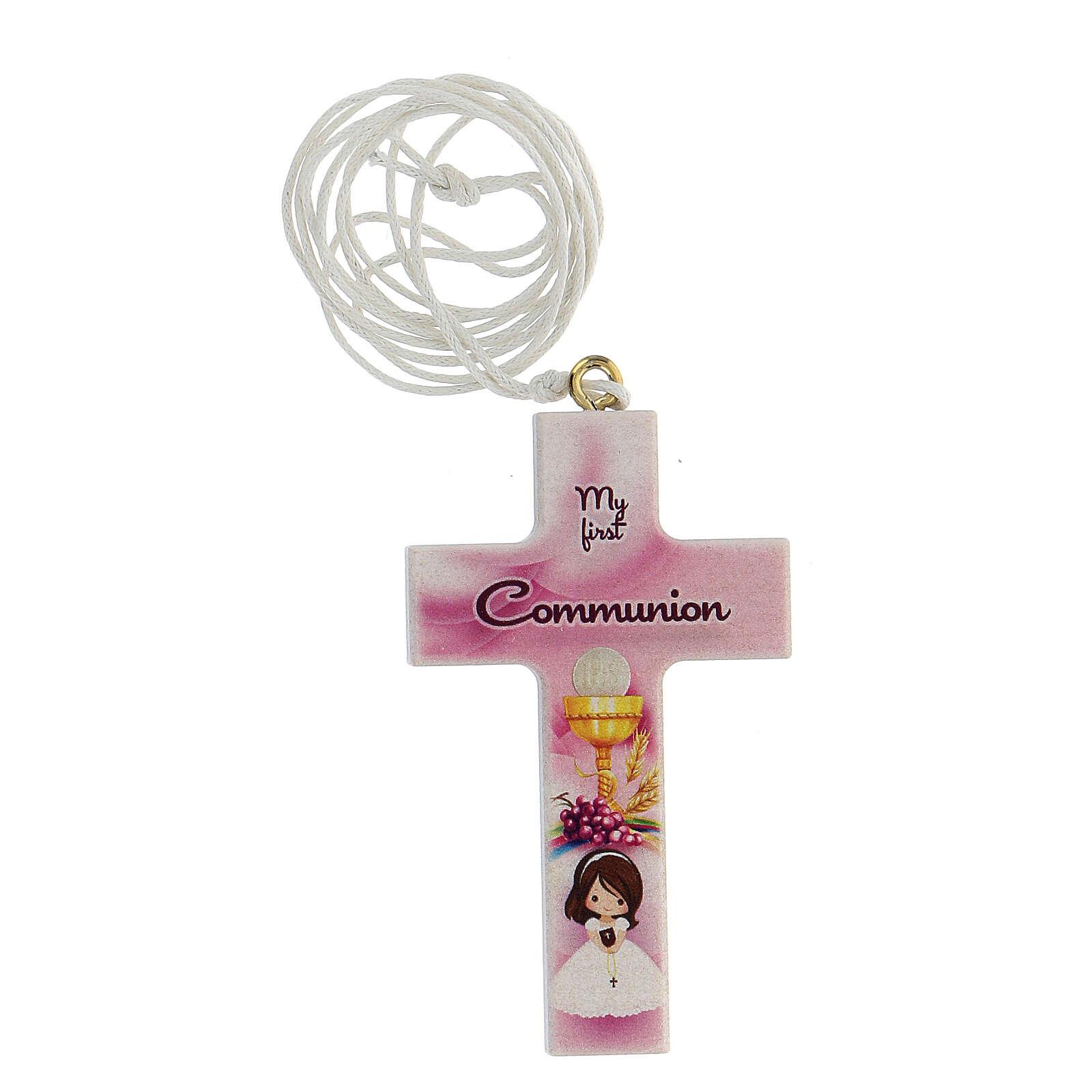 Ricordo croce rosa e laccio Comunione inglese 3