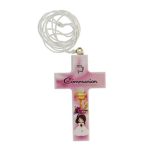 Ricordo croce rosa e laccio Comunione inglese 1