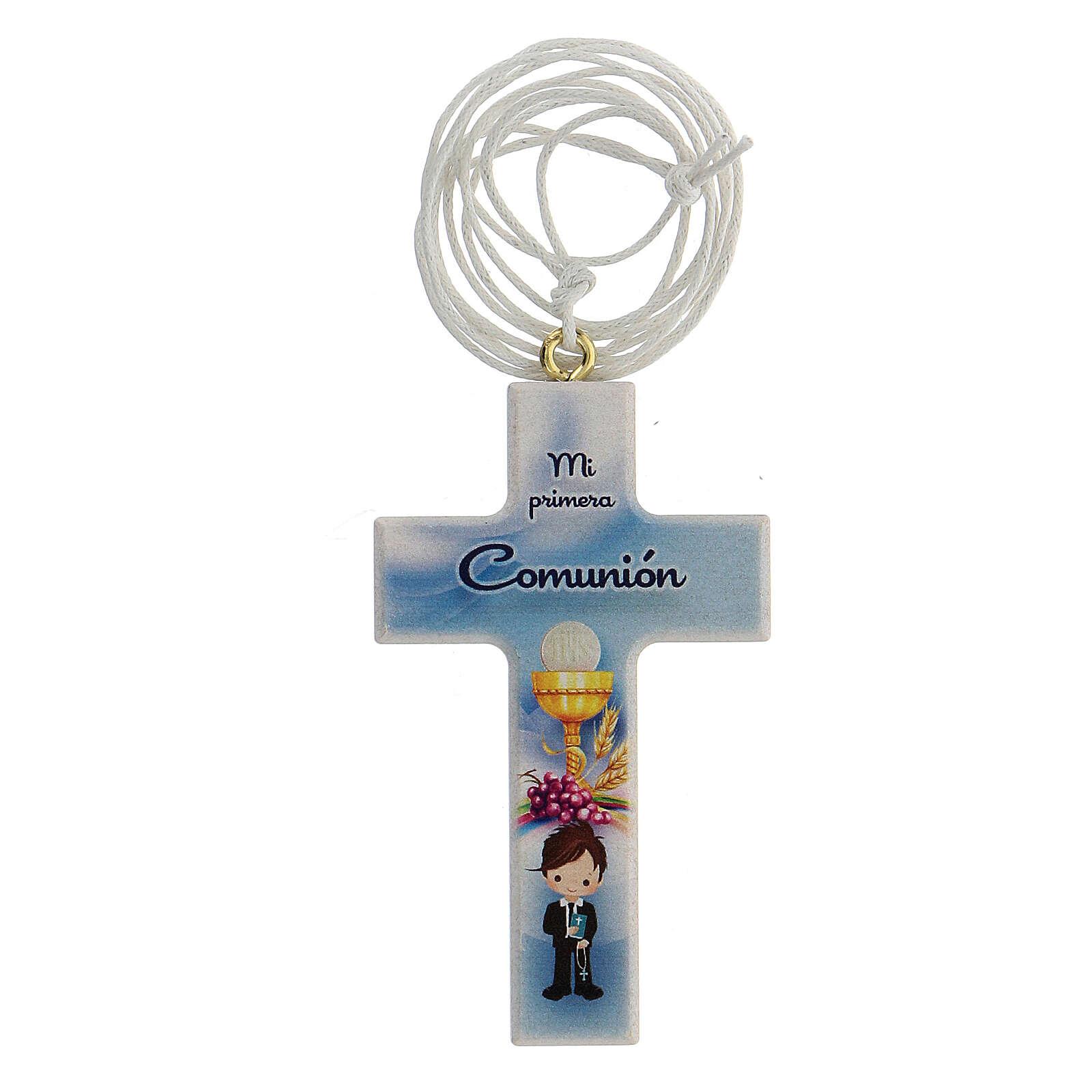 Ricordino Comunione bimbo croce e laccio spagnolo 3