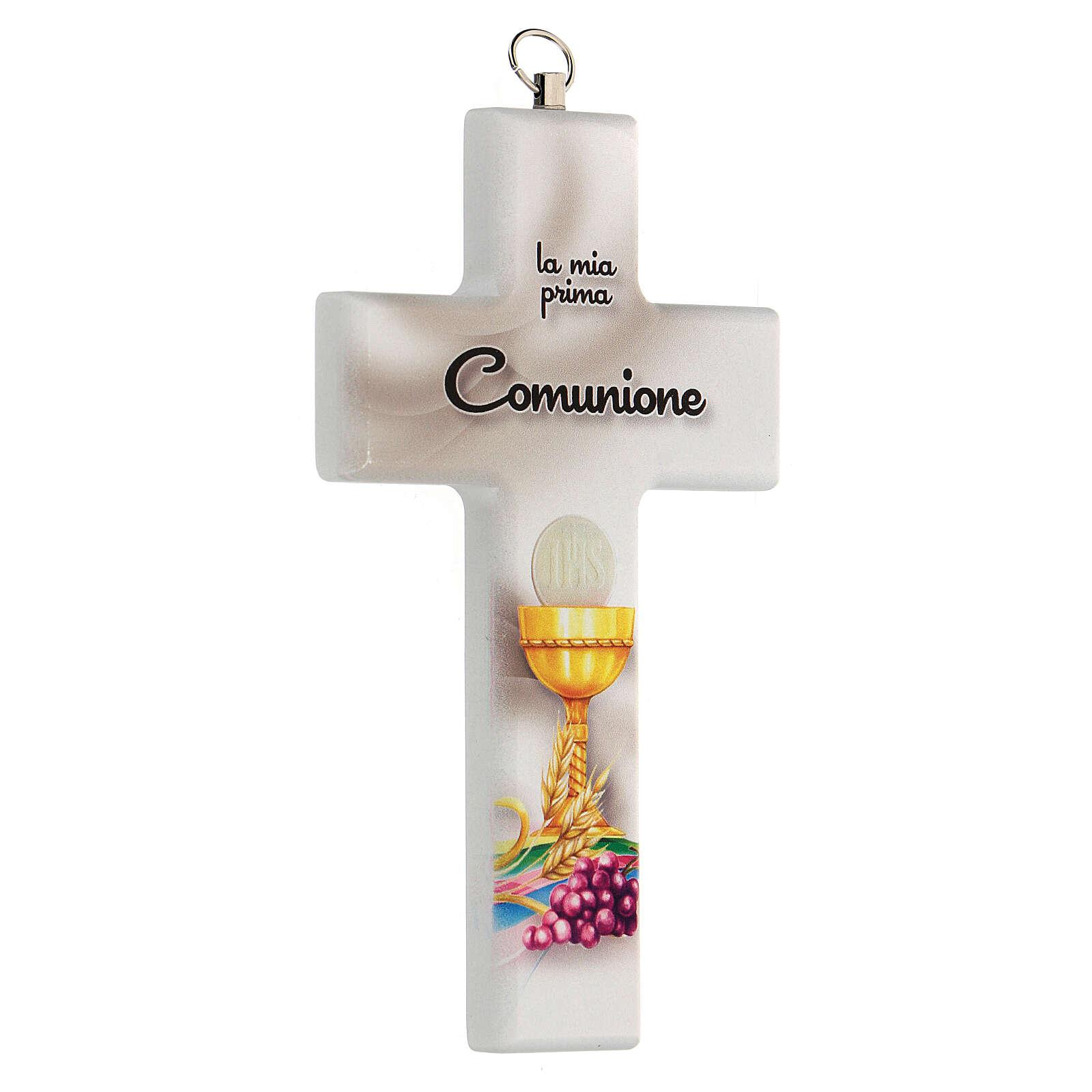 Croce ricordo Comunione bianca con calice 3