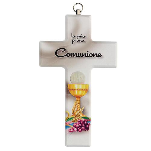 Croce ricordo Comunione bianca con calice 1
