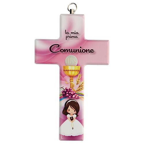 Croce rosa ricordo Comunione bimba 1