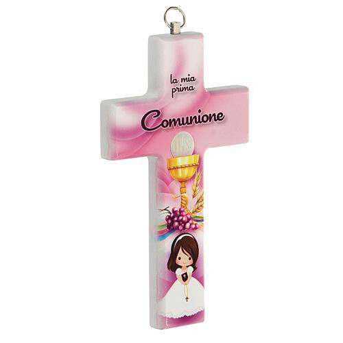 Croce rosa ricordo Comunione bimba 2