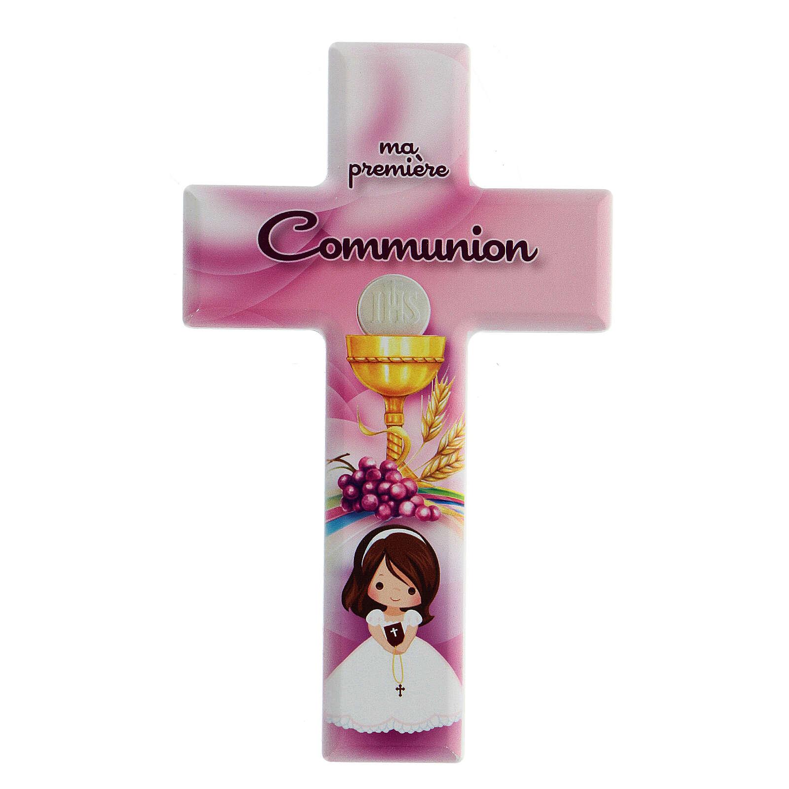 Croce rosa Comunione bimba francese 3