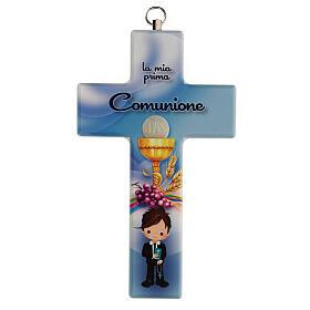 Souvenir Communion garçon croix bleue s1