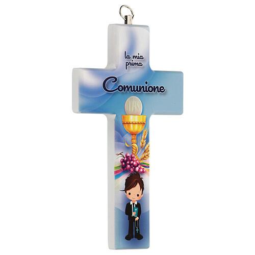 Souvenir Communion garçon croix bleue 2