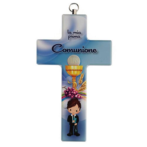 Ricordino Comunione bimbo croce azzurra 1
