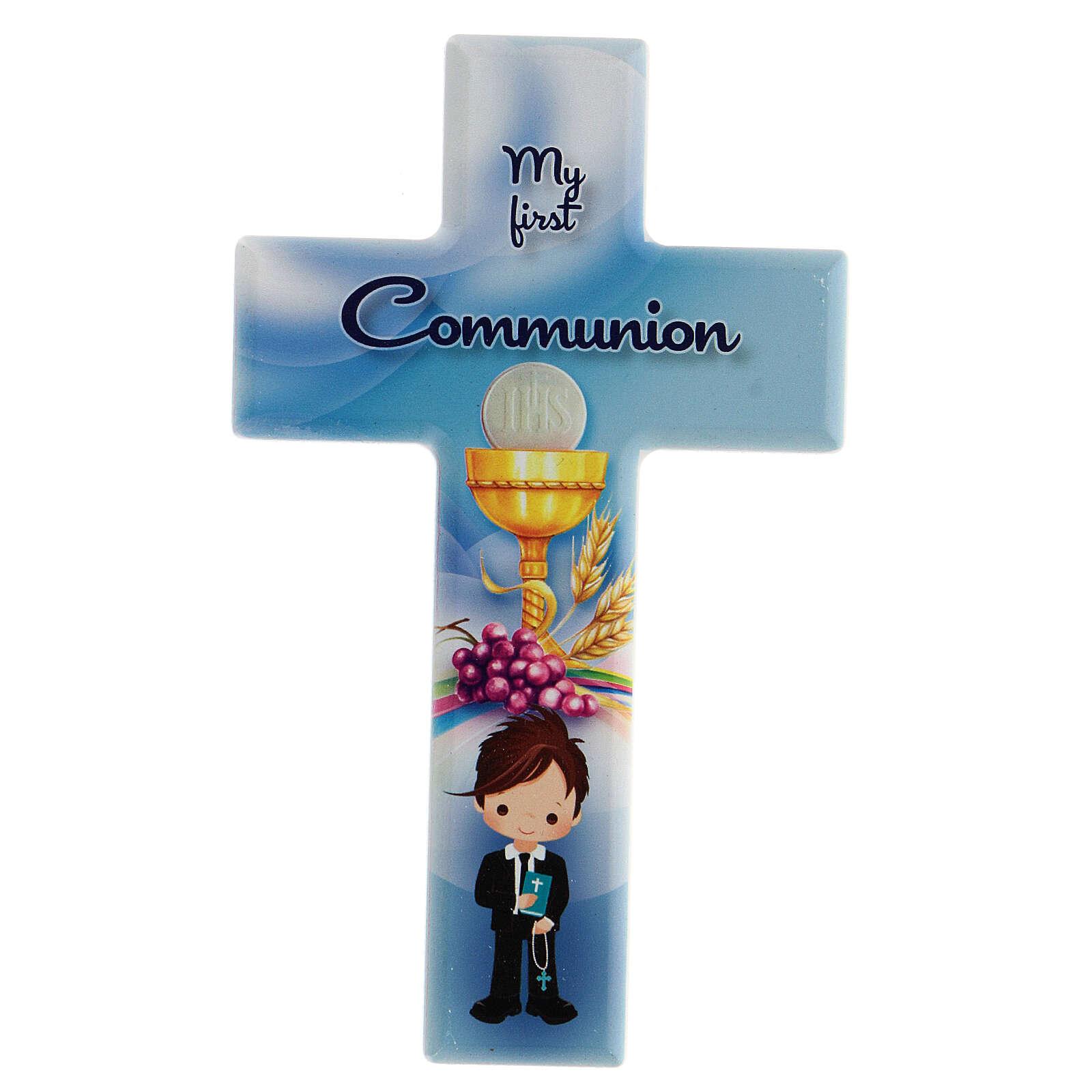 Croce Comunione bimbo legno stampato inglese 3
