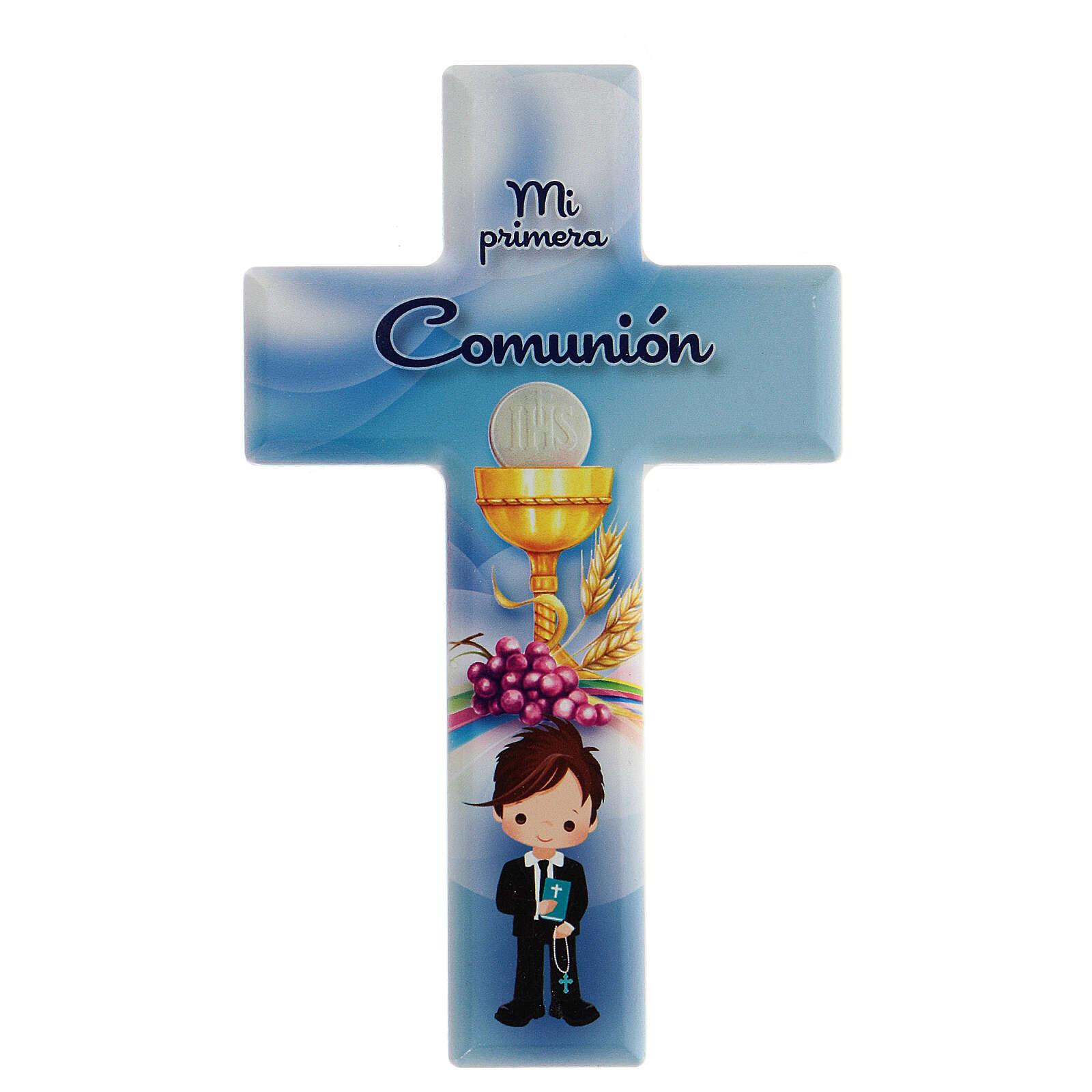 Croce ricordo azzurra Comunione bimbo spagnolo 3