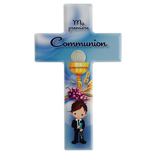 Ricordo Comunione bimbo croce azzurra francese 1
