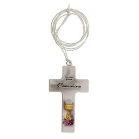 Set recuerdo Comunión cruz y rosario blanco s2