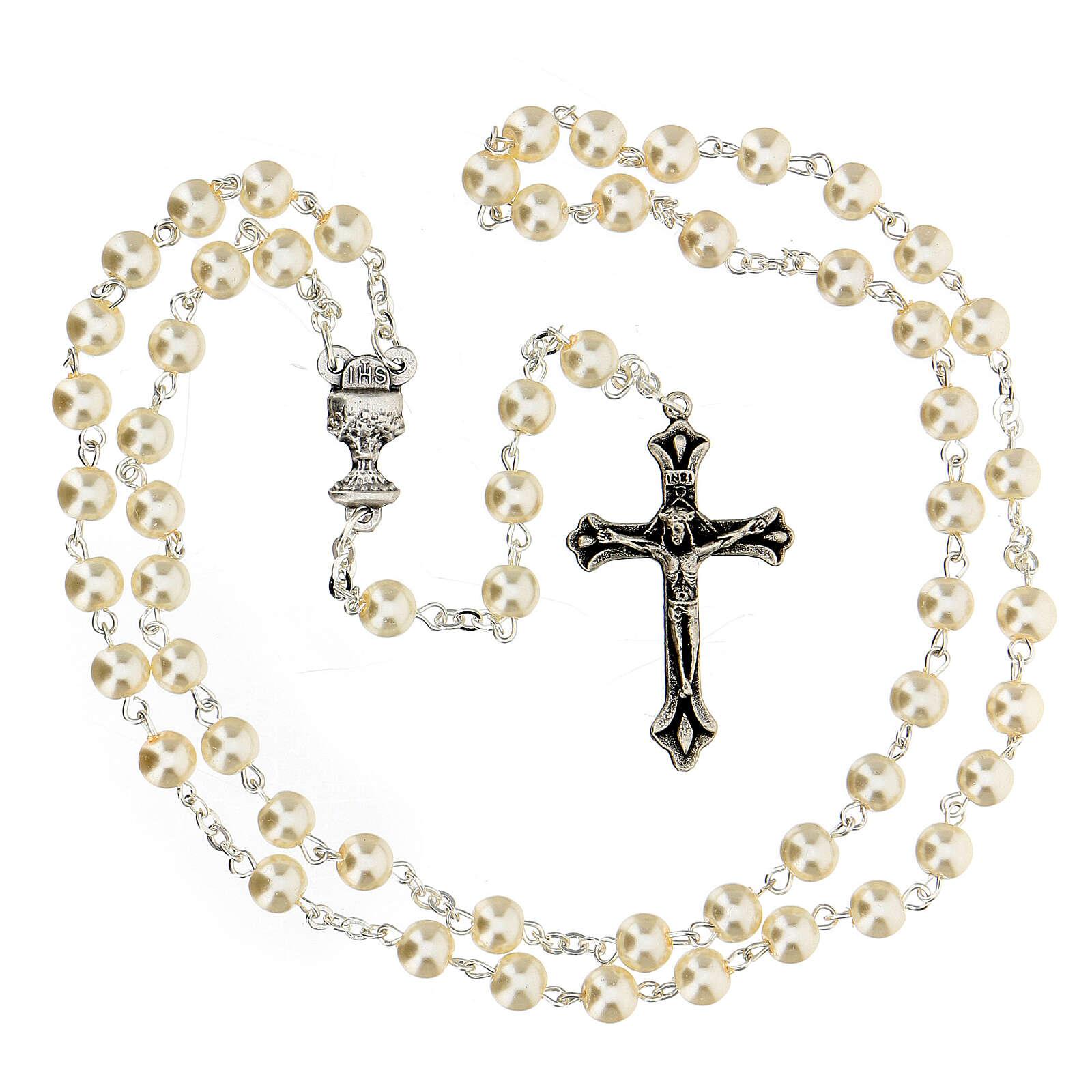 Set souvenir chapelet et croix blanc Communion ANGLAIS 3