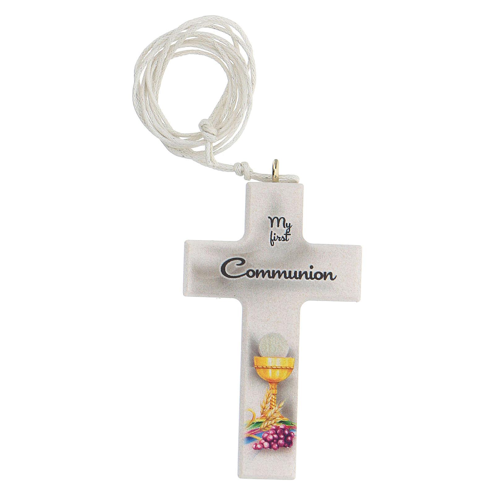 Set ricordo rosario e croce bianco Comunione inglese 3