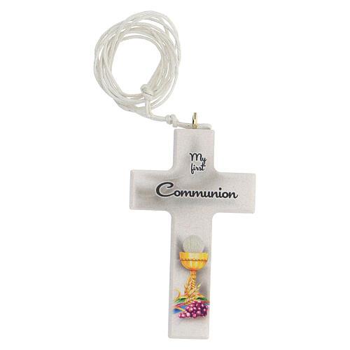 Set ricordo rosario e croce bianco Comunione inglese 2