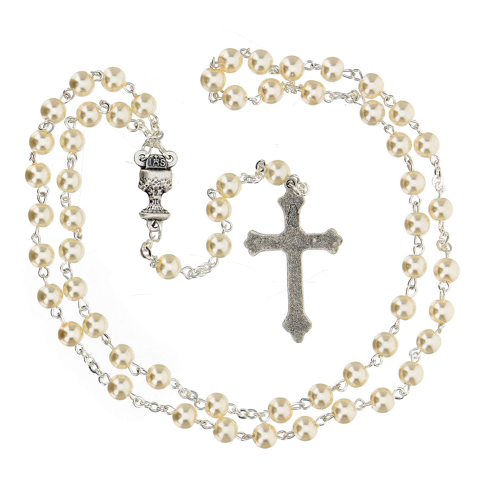 Set souvenir chapelet et croix blanc Communion ESPAGNOL 3