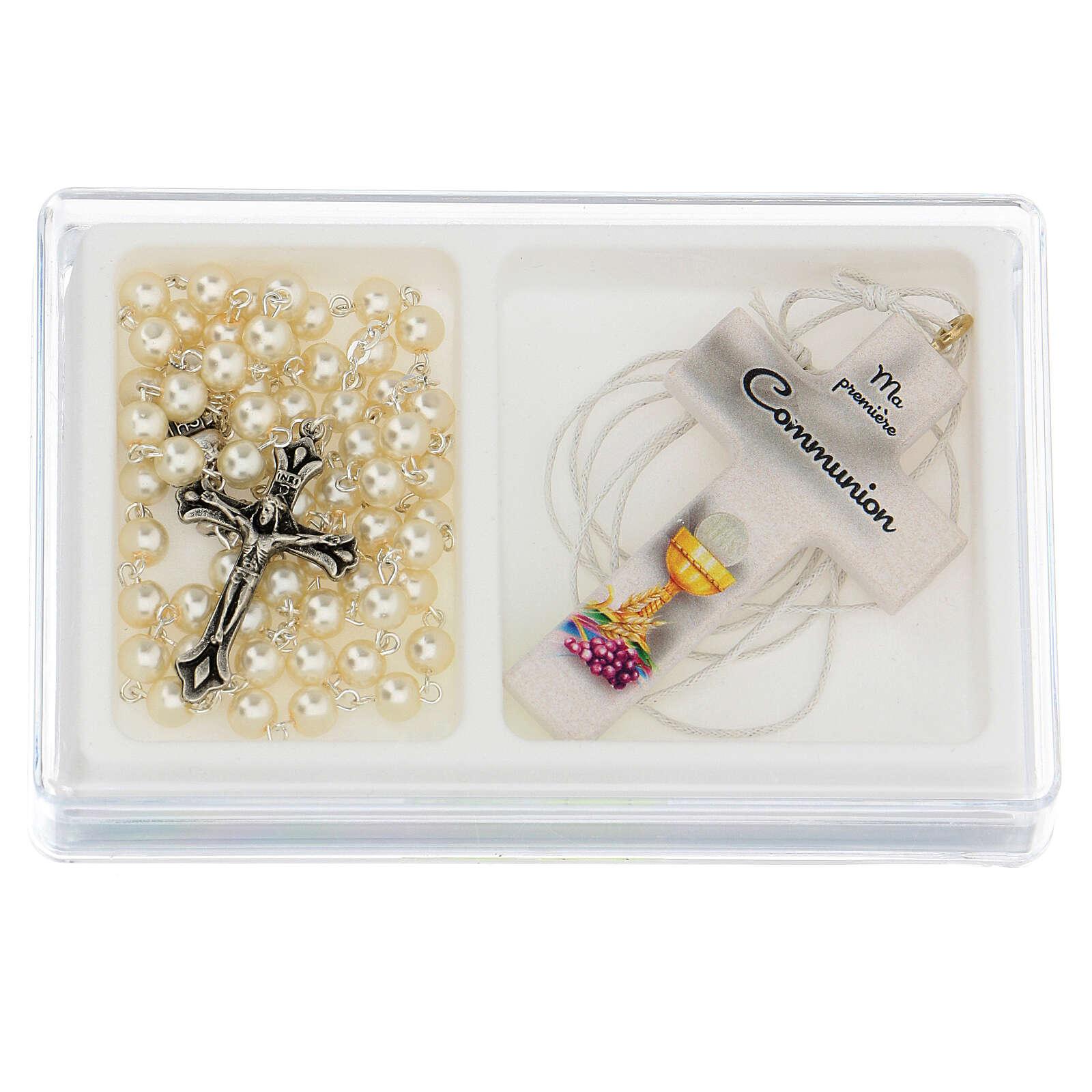 Ricordo Comunione rosario e croce bianca francese 3