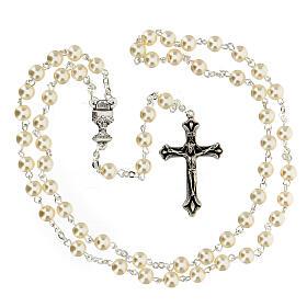 Ricordo Comunione rosario e croce bianca francese s3