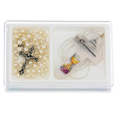 Ricordo Comunione rosario e croce bianca francese 1