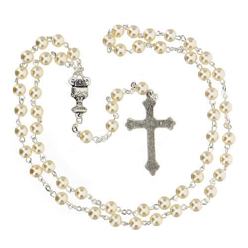 Ricordo Comunione rosario e croce bianca francese 4