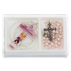Set souvenir chapelet et croix rose Communion ANGLAIS s1