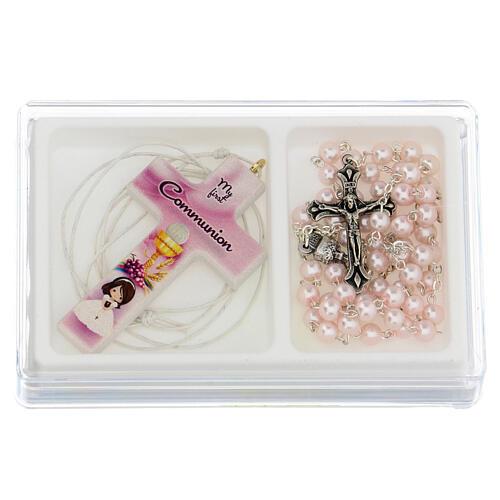 Set souvenir chapelet et croix rose Communion ANGLAIS 1