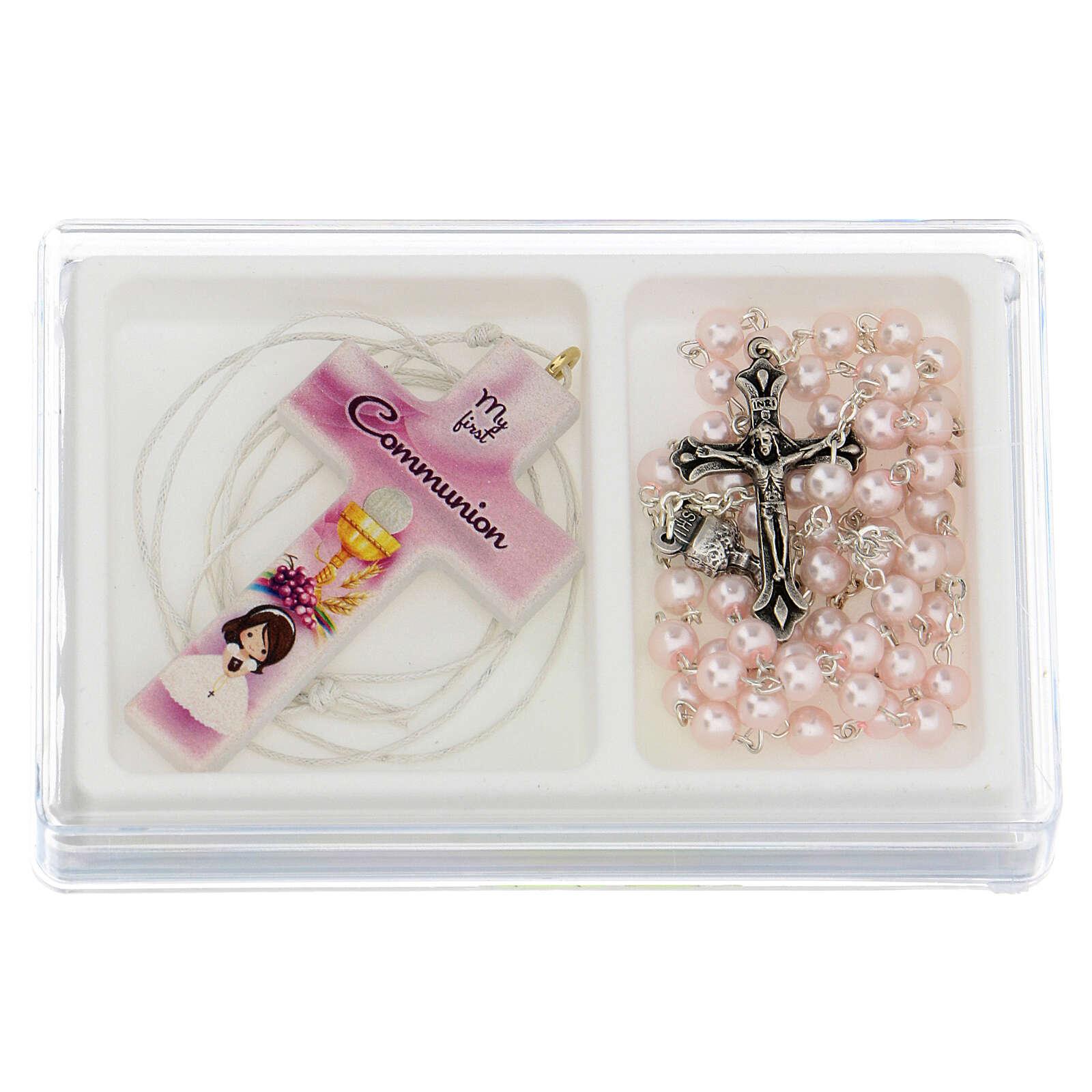 Ricordo Comunione croce e rosario rosa inglese 3