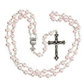 Ricordo Comunione croce e rosario rosa inglese s3