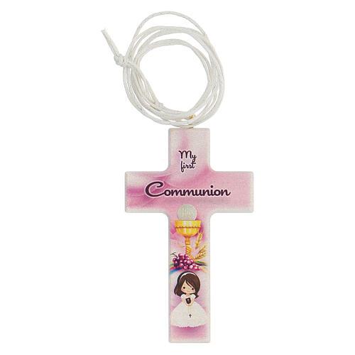 Ricordo Comunione croce e rosario rosa inglese 2