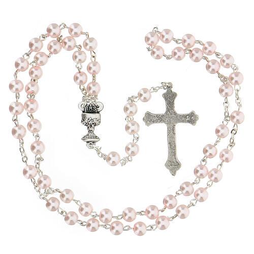 Ricordo Comunione croce e rosario rosa inglese 4