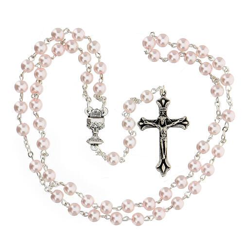 Set souvenir chapelet et croix rose Communion FRANÇAIS 3