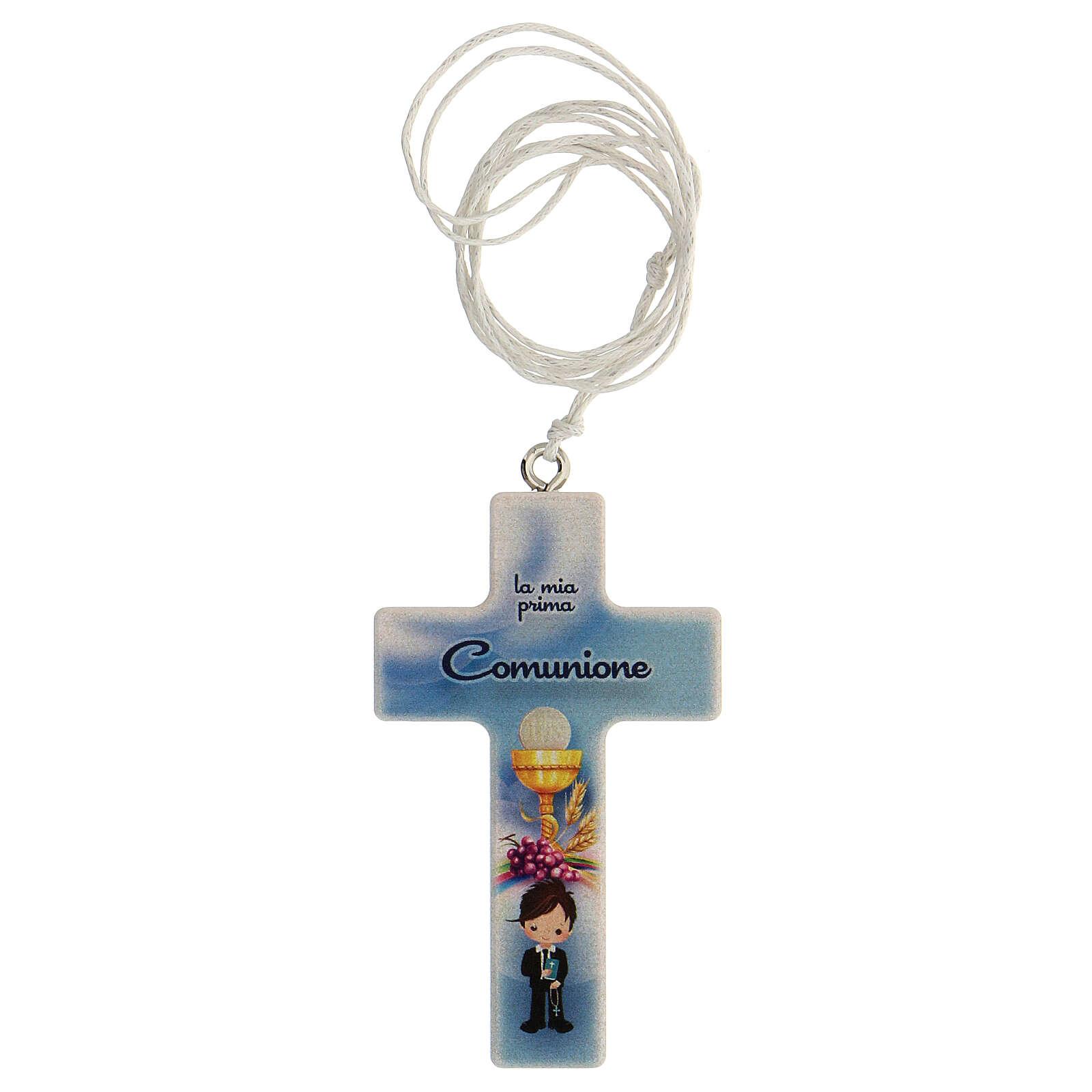 Coffret Communion croix et chapelet bleu clair 3