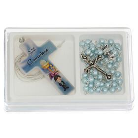 Coffret Communion croix et chapelet bleu clair s1