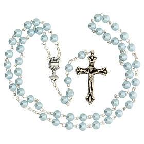 Coffret Communion croix et chapelet bleu clair s3