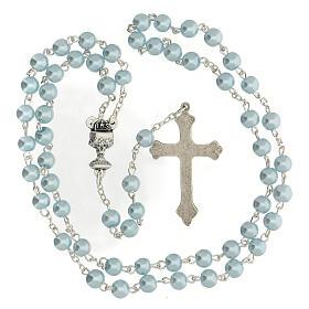 Coffret Communion croix et chapelet bleu clair s5