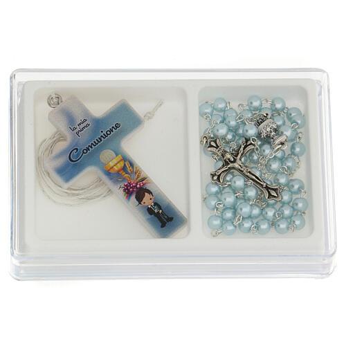 Coffret Communion croix et chapelet bleu clair 1