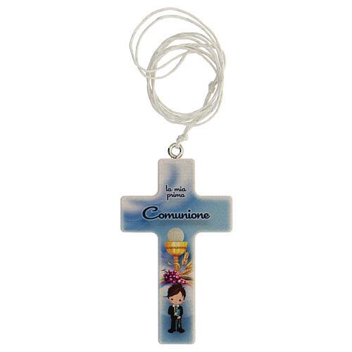 Coffret Communion croix et chapelet bleu clair 2