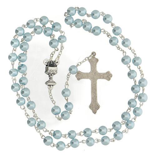 Coffret Communion croix et chapelet bleu clair 5