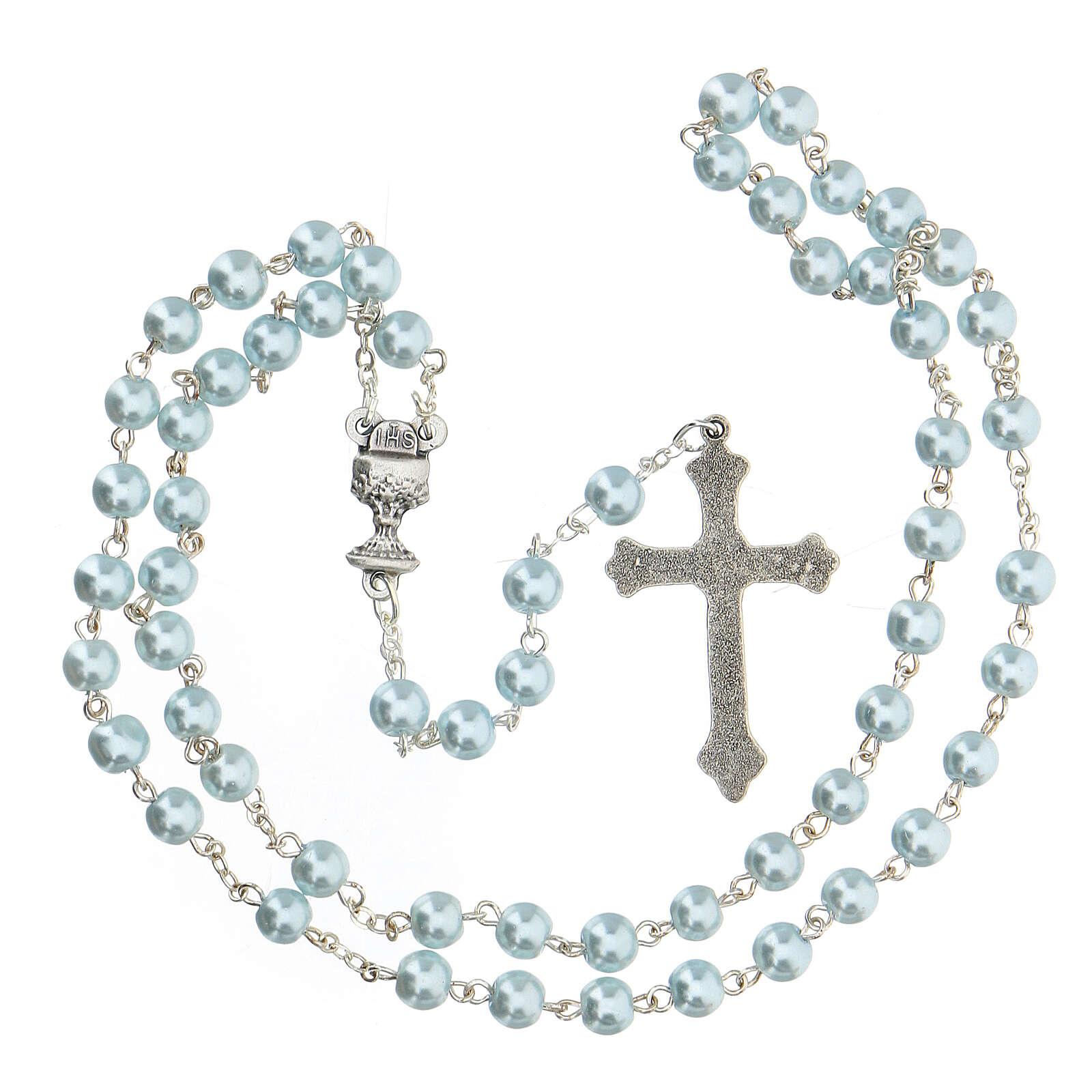 Set souvenir chapelet et croix bleu Communion ANGLAIS 3
