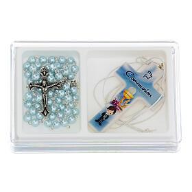 Set souvenir chapelet et croix bleu Communion ANGLAIS s1