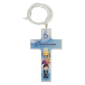 Set souvenir chapelet et croix bleu Communion ANGLAIS s2