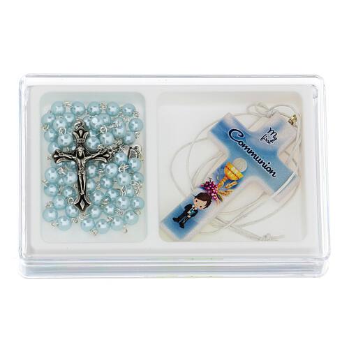 Set souvenir chapelet et croix bleu Communion ANGLAIS 1