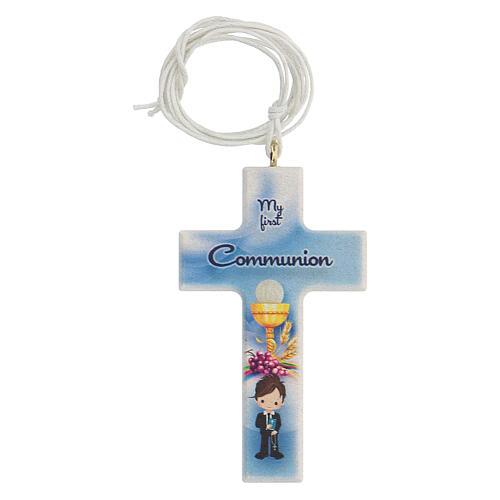 Set souvenir chapelet et croix bleu Communion ANGLAIS 2