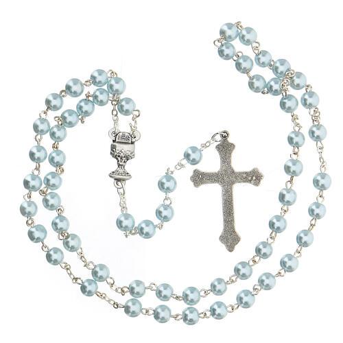 Set souvenir chapelet et croix bleu Communion ANGLAIS 4